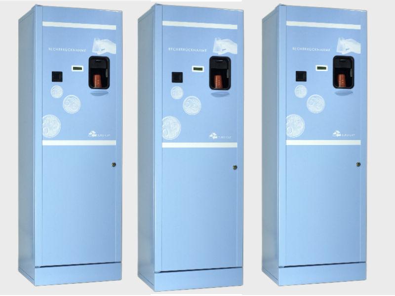 Becherrückgabeautomat Serie blau Müllvermeidung Pfandsystem