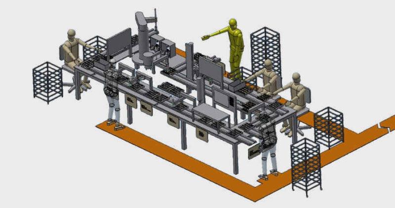 Konzeptstudie Prozessanalyse CAD-Modell ungerendert Produktionsprozess Anlagenablauf