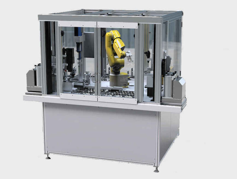 6-Achs-Roboter Robotergreifarm Montageanlage Darstellung gerendert Fertigung Bauteil